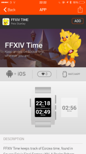 Picture of FFXIV Time in the Pebble App Store